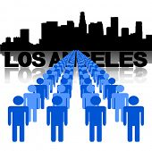 Lines of people with Los Angeles skyline vector illustration