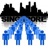 Lines of people with Singapore skyline vector illustration