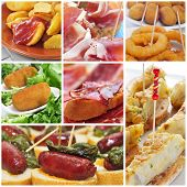 a collage of different spanish tapas, such as patatas bravas or spanish omelette
