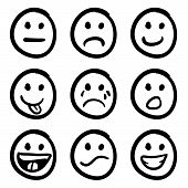 image of angry smiley  - An icon set of doodled cartoon smiley faces in a variety of expressions - JPG