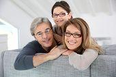 Portrait of happy family wearing eyeglasses
