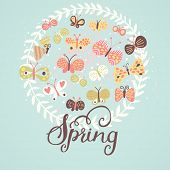 Spring concept illustration. Cartoon butterflies on blue background. Cute gentle spring card in vector.