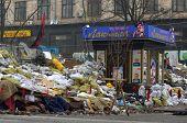 KIEV, UKRAINE - FEB 10, 2014: Downtown of Kiev.Barricades.. Riot in Kiev and Western Ukraine.February 10, 2014 Kiev, Ukraine