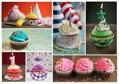 Collage showing delicious cupcakes with candles, blower and candies