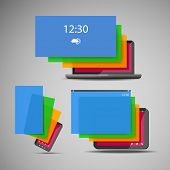 Laptop, Smart Phone, Tablet Icons with Colorful Display Layers