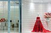 red female dress on mannequin