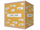 Cyber Crime 3D Cube Corkboard Word Concept