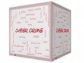 Cyber Crime Word Cloud Concept On A 3D Cube Whiteboard