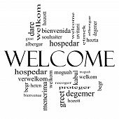Welcome Foreign Language Word Cloud In Black And White