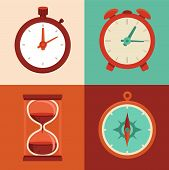 stock photo of compasses  - Vector set of flat icons  - JPG
