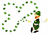foto of fourleaf  - editable eps vector format jpeg irish leprechaun leaning with large fourleaf shamrock design - JPG