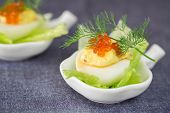 Staffed Egg Appetiser With Red Caviar Garnish And Dill Decoration