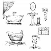 stock photo of interior sketch  - Bathroom interior elements - JPG
