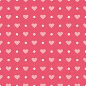 Pink vector seamless pattern or background with hearts and polka dots.