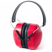 foto of muffs  - red ear protecting muffs isolated on white background - JPG