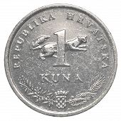 picture of nightingale  - one croatian Kuna coin isolated on white background  - JPG