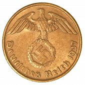 stock photo of swastika  - german 3rd riech coin shows eagle and swastica - JPG