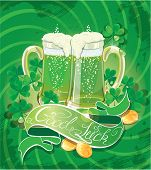 Holiday Card With Calligraphic Words Good Luck And Beer Mugs, Shamrock, Golden Coin On Green Backgro