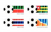 Football With Tatarstan, Togo, Thailand And Tierra Del Fuego Flag