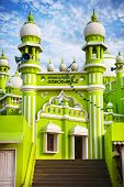 pic of mosk  - Green Mosque at blue sky in Kovalam Kerala India - JPG