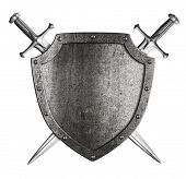 picture of knights  - aged metal shield with two crossed knight swords isolated on white - JPG