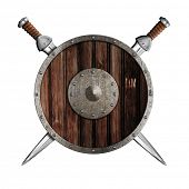 Two swords and wooden round shield isolated