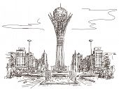 Bayterek Tower in Astana. Symbol of Kazakhstan Vector sketch