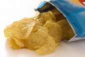 picture of crisps  - Blue packet of crisps with cheese and spri ng onion flavour - JPG