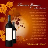 Vector background with two red wine bottles in the foreground. Can be used for presentation of wine as a poster, leaflet or brochure and other printed materials.