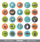 Set of modern flat travel icons.