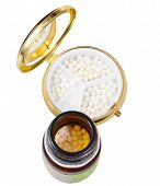 Glass Jar And Pill Box With Homeopathy Balls