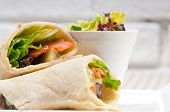 stock photo of shawarma  - kafta shawarma chicken pita wrap roll sandwich traditional arab mid east food