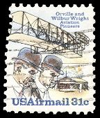 USA-CIRCA 1978: A 31 cent United States Airmail postage stamp, shows image of pioneer aviators the Wright Brothers, commemorating the first successful powered flight, circa 1978.