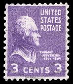 USA-CIRCA 1938: A postage stamp shows image portrait of Thomas Jefferson the 3rd President of the Un