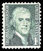 USA-CIRCA 1968: A postage stamp shows image portrait of Thomas Jefferson the 3rd President of the Un