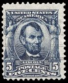 USA-CIRCA 1903: A postage stamp shows image portrait of Abraham Lincoln the 16th President of the Un