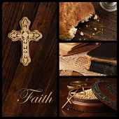Faith concept.  Collage includes images of an ornamental cross on rustic wood, loaf of communion bread, well used vintage bible, and wooden box of mustard seeds (symbol of faith) with cross pendant.