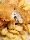 Battered cod fillet and chunky chips.