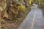 image of bike path  - narrow bike and recreation path  - JPG