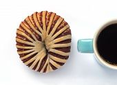 Appetizing taro bread and cup of coffee