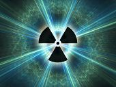 stock photo of nuclear bomb  - Nuclear radiation symbol on a blue background - JPG