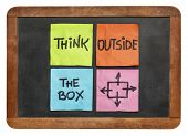 pic of thinking outside box  - think outside the box concept  - JPG
