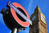London tube sign and Big Ben