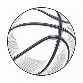 Basketball Ball Isolated On A White Background. Line Art. Fitness Symbol. Vector Illustration