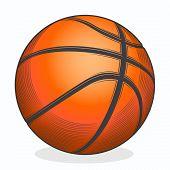 Basketball Ball Isolated On A White Background. Color Line Art. Fitness Symbol. Vector Illustration