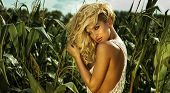 stock photo of natural blonde  - Portrait of natural sexy blonde woman with long curly hair - JPG