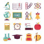 Set of flat education icons