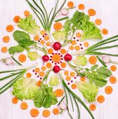 Pattern From Vegetables On A White Background