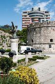 Monument Mujo Ulqinaku in Durres Albania