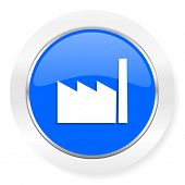 factory blue glossy web icon